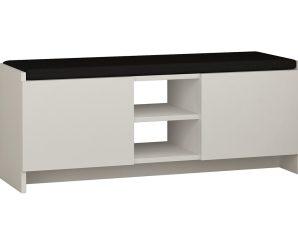"""Έπιπλο εισόδου σκαμπώ-παπουτσοθήκη """"ZULLA"""" σε χρώμα λευκό 110x37x43"""