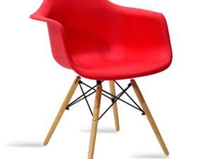 """Πολυθρόνα """"JULITA"""" από PP σε χρώμα κόκκινο/φυσικό 62x60x78,5"""