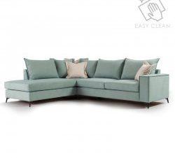 """Γωνιακός καναπές """"ROMANTIC"""" με δεξιά γωνία από ύφασμα σε σιέλ-κρεμ χρώμα 290x235x95"""