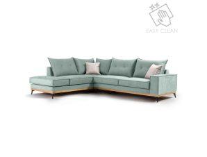 """Γωνιακός καναπές """"LUXURY II"""" με δεξιά γωνία από ύφασμα σε σιέλ-κρεμ χρώμα 290x235x95"""