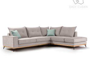 """Γωνιακός καναπές """"LUXURY II"""" με αριστερή γωνία από ύφασμα σε elephant-σιέλ χρώμα 290x235x95"""