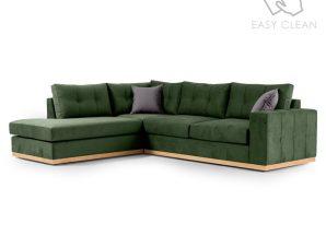 """Γωνιακός καναπές """"BOSTON"""" με δεξιά γωνία από ύφασμα σε κυπαρισσί-ανθρακί χρώμα 280x225x90"""