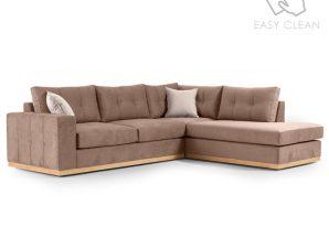"""Γωνιακός καναπές """"BOSTON"""" με αριστερή γωνία από ύφασμα σε μόκα-κρεμ χρώμα 280x225x90"""