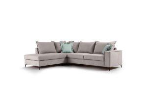 """Γωνιακός καναπές """"ROMANTIC"""" με δεξιά γωνία από ύφασμα σε elephant-σιέλ χρώμα 290x235x95"""