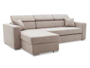 """Γωνιακός καναπές-κρεβάτι """"LURA"""" αναστρέψιμος από ύφασμα σε μπεζ-καφέ χρώμα 255x162x75-90"""