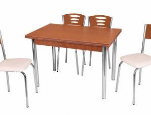 """Τραπέζι """"ROBY"""" ανοιγόμενο ορθογώνιο από MDF/μέταλλο σε χρώμα καρυδί 110x70x75"""